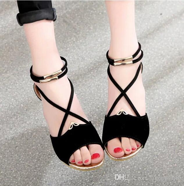 2d16603f93a7f4 Summer Flat with Korean Soft Bottom Flat Sandals for Junior High ...