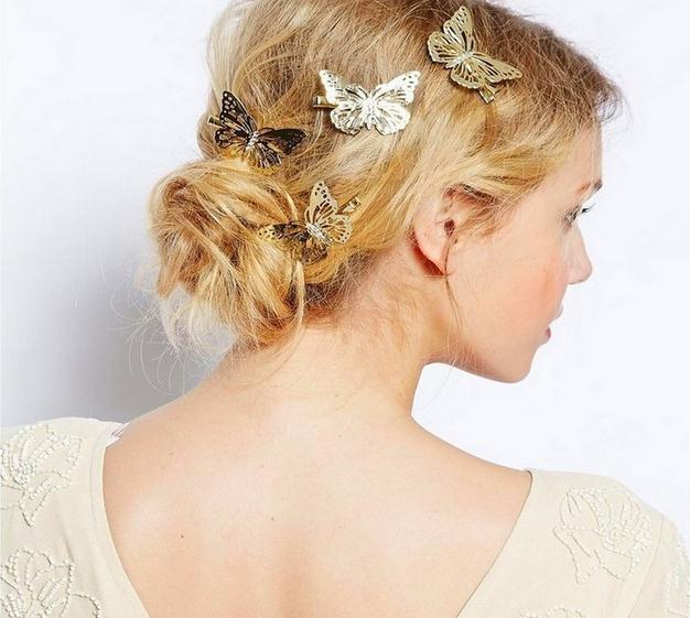 Clássico das mulheres oco out borboleta hairpin grampos de cabelo noiva festa de casamento barrettes Cabelo Jóias de prata de ouro transporte da gota