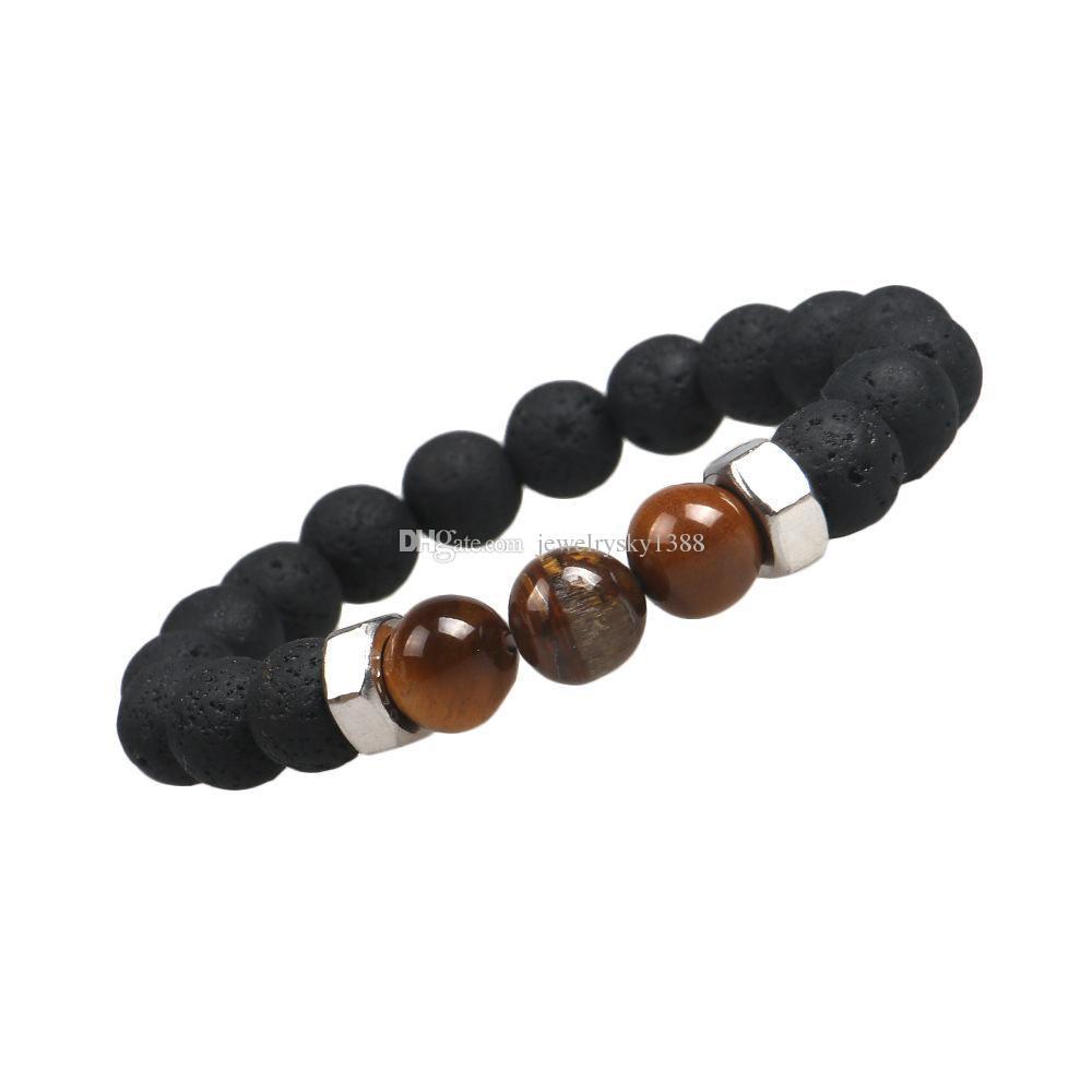 Mode Black Lava 10 MM Tiger Eye Bracelet Bracelet Élastique Corde Chaîne Naturelle Pierre Amitié Bracelet Pour Femmes et Hommes Bijoux