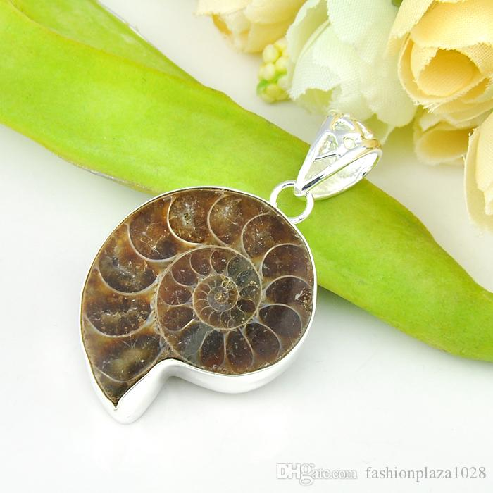 Pure Handmade High Quality Luckyshine Hot Sale Natural Ammonite Fossil Gems Silver Pendant Weddings Jewelry Gift Unisex