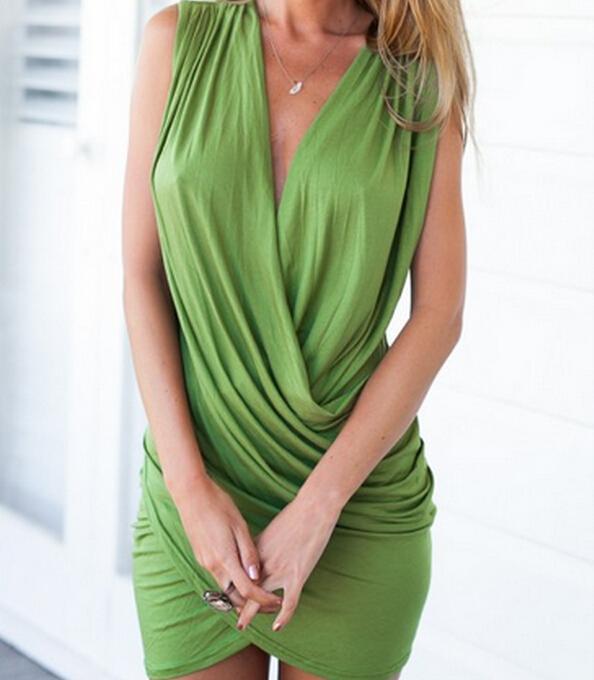 2016 Fashion Women Sexy Cotton Blend Dress Deep V-neck Sleeveless Mini Bodycon Dresses Summer Pleated Night Club Casual Dresses for Womens