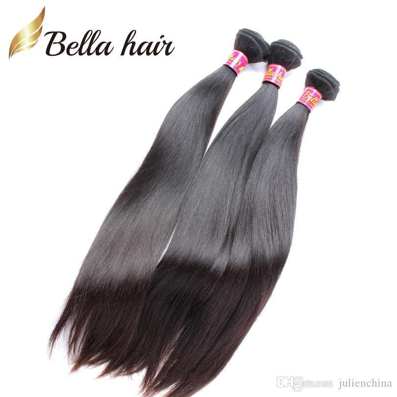 Bella Hair®8A weiches glattes mongolisches Jungfrau-Haar 3Bundles Remy Menschenhaar spinnt natürliche schwarze Farbe unverarbeitetes Menschenhaar DHL geben Verschiffen frei