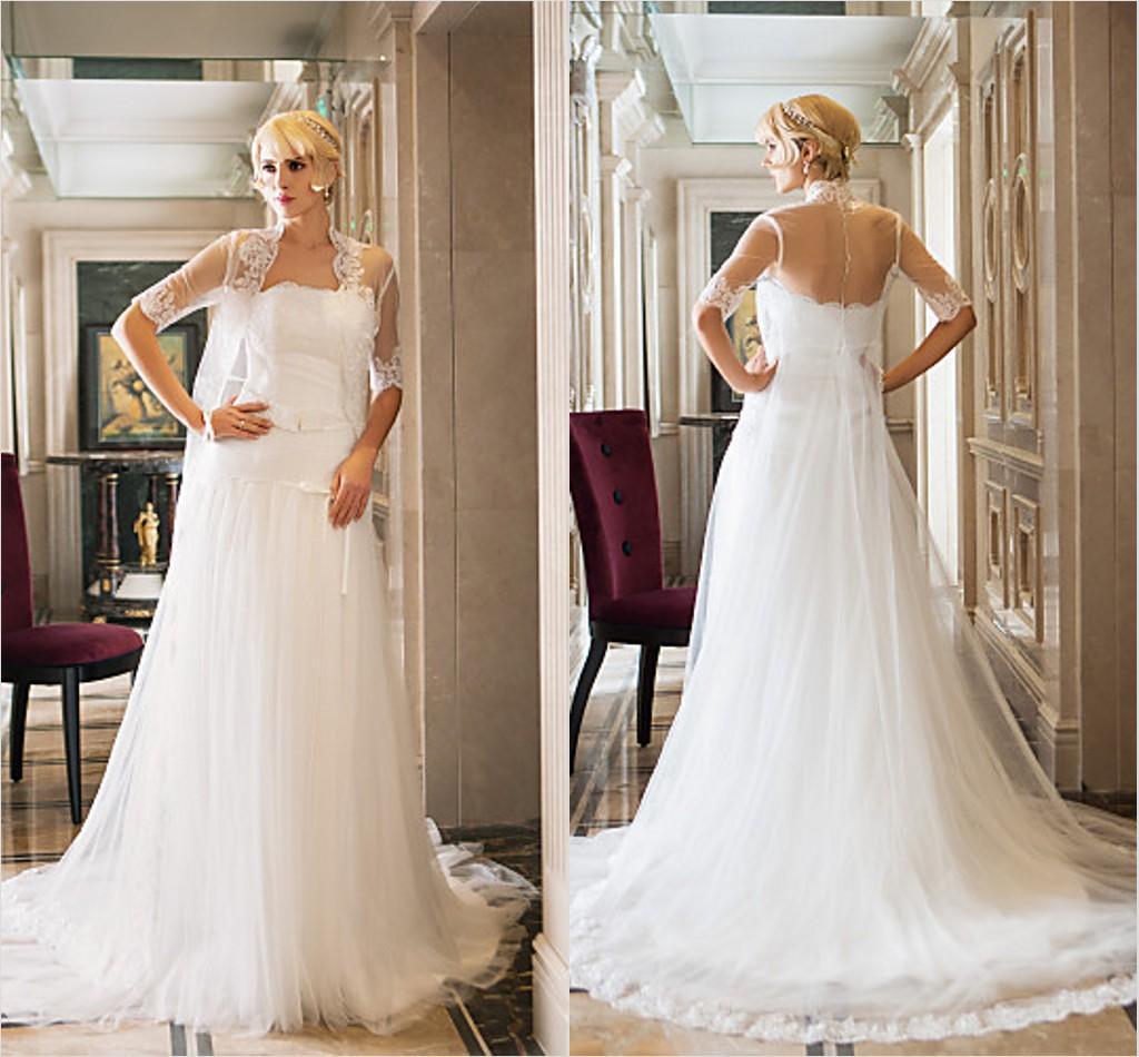 2016 New Fashion Popular Ivory Court Train Strapless Sleeveless Tulle/Lace Sheath Modern Wedding Dresses 181