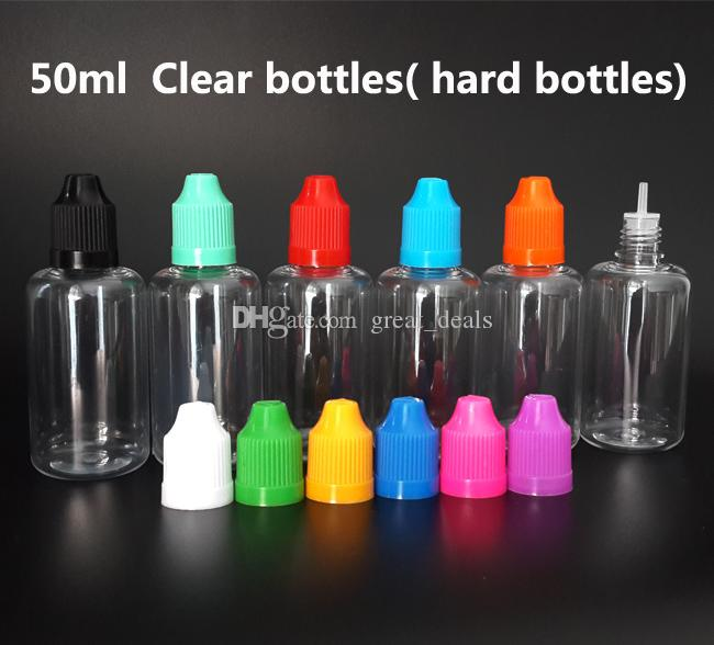 5ml 10ml 15ml 30ml 50 ml Pet Clear Bottle Tom plastdroppflaska med barnsäker keps och fina tips för E-vätska