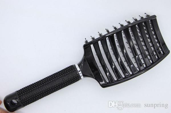 Black Boar Bristle Hair Brush Best For Detangling All Hair Types Vented Professional Hair Brushes