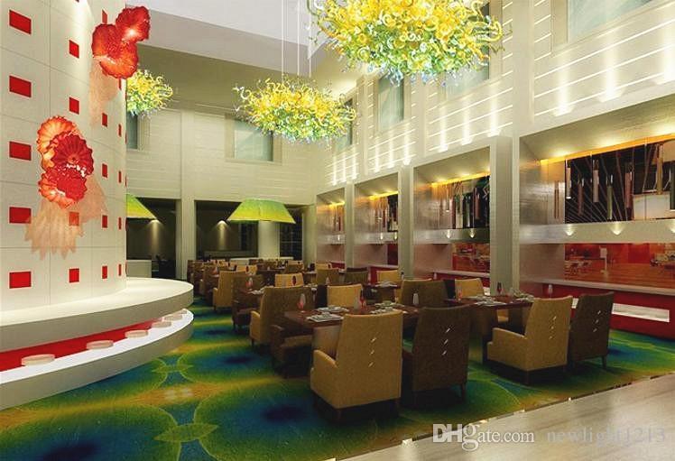 Hotel Banqueting Hall High Ceiling Green Chandelier 100% Blown Glass Art Deco Modern Crystal Lighting Chandelier