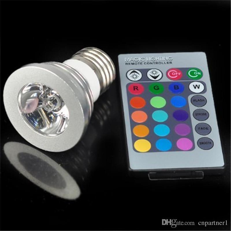 apertura 3W mini LED RGB Bombilla 16 cambio de color Focos LED RGB led Bombillas E27 GU10 E14 MR16 GU5.3 con 24 teclas de control remoto 85-265v