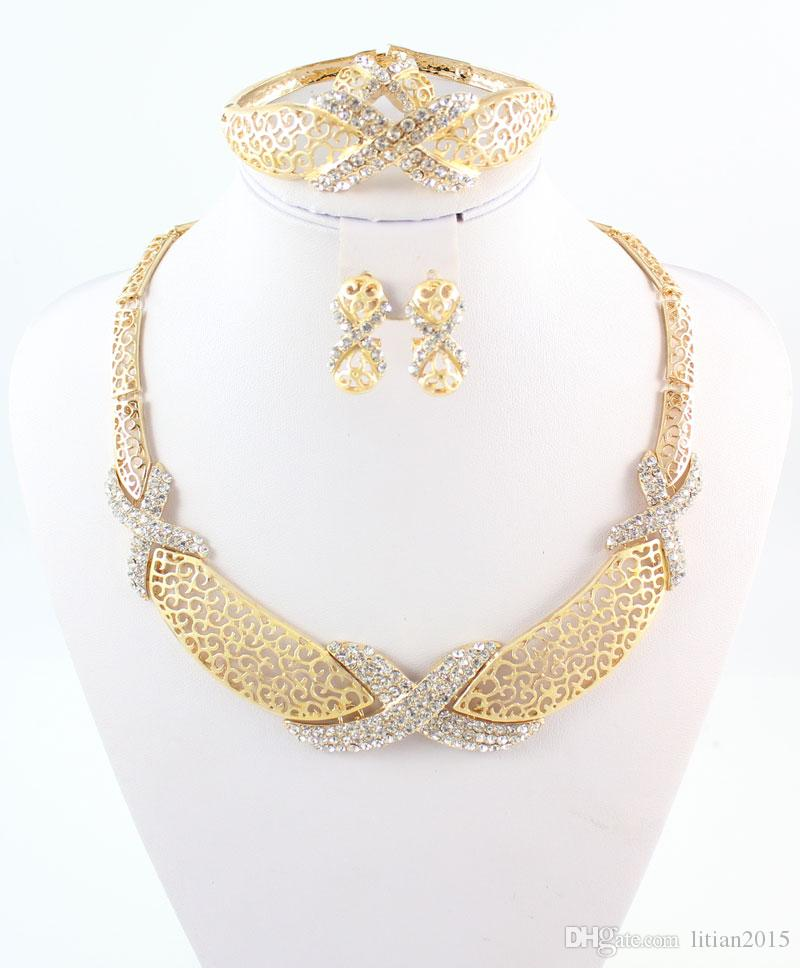 New Charms Hot Sale Fashion New Arrival African Costume Women Wedding 18k Gold Plated Crystal Jewelry Sets