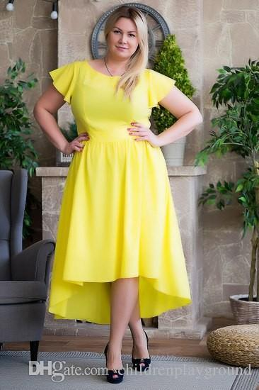 Retail 2016 Women Plus Size Dress Solid Mid Calf A Line Casual ...