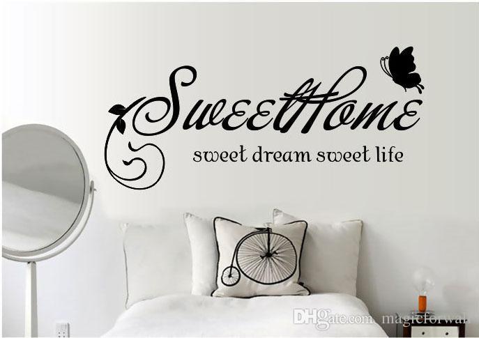 Сладкий Дом Сладкий Сон Сладкая Жизнь Стены Цитата Наклейка Черные Цветы Ротанга Бабочки Home Art Mural Плакат Обои Декор