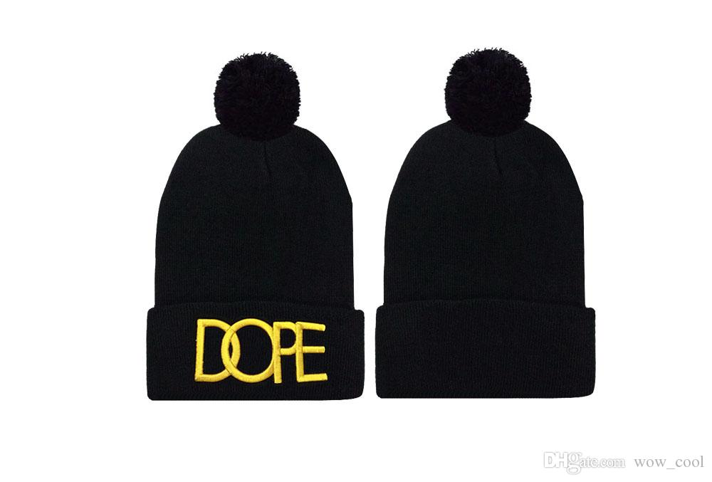 Black Dope Beanie Hat With Ball Warm Winter Skull Beanies Cap Online Wholesale Embroidery Knitted Hats Men Women Snow Ski Knit Caps