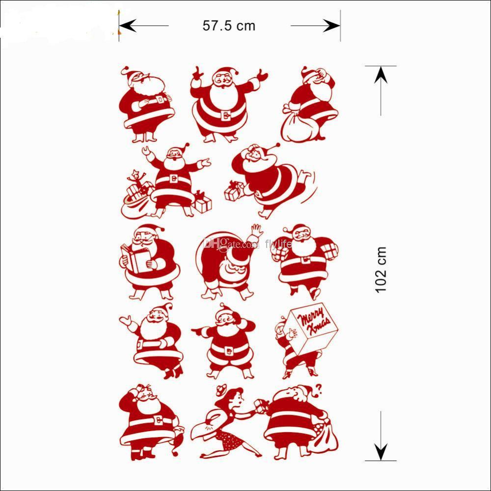 Diy 13 funny santa clause christmas decors wall stickers for Christmas wall mural plastic