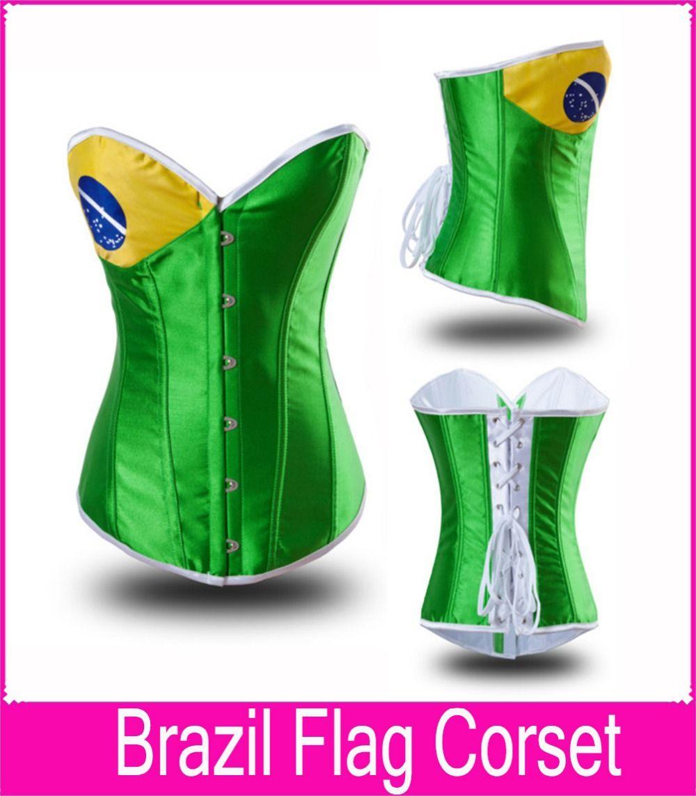 6a60ea2ecb4 2019 Wholesale World Cup Brazil Flag Corset Steel Boned Bustier S XXL Green  Color Brazil Flag Corset Waist Cincher Bodysuit Women Shapewear From Paluo
