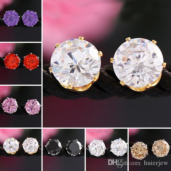 Earings for Woman Wedding Jewelry Rhinestone Gemstone Crystal Stud Earrings Korean Fashion Jewelry 925 Silver Plated Zircon CZ Stud Earrings