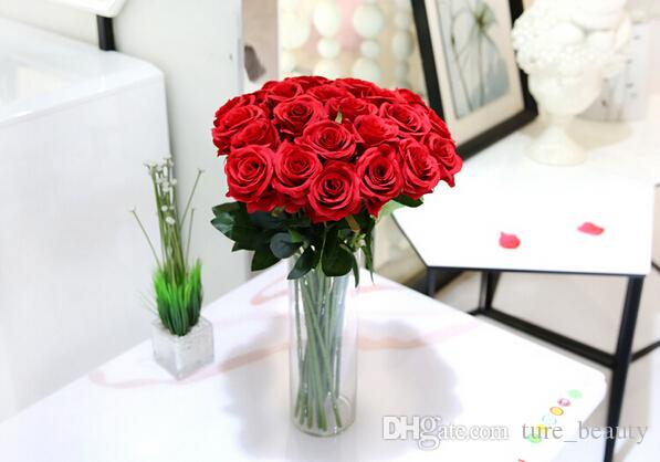 15% off hot sale Wedding Decoration red Rose Artificial Flowers Decorative Silk Flowers Home Party Decor,sale outlets drop shipping