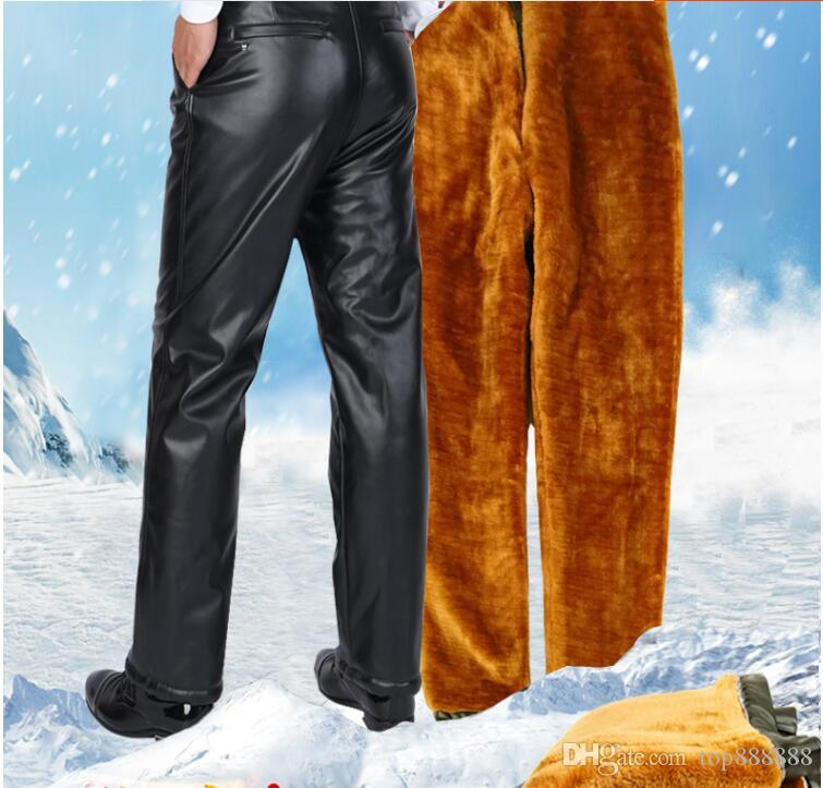 Men business Elasticity leather pants new arrival cotton Winter cashmere Super thick waterproof handsome cool motorcycle leather pants