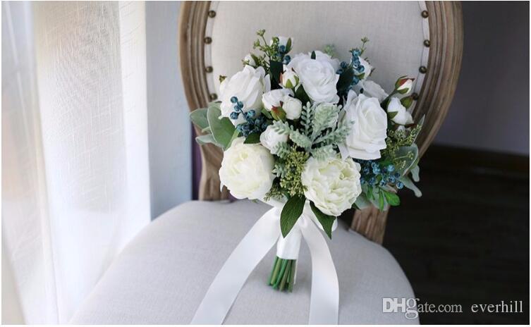 Jane Vini Vintage White Bouquet Mariage Winter Wedding Flowers Bridal Bouquets 2018 Artificial Roses Wedding Brooch Bouquet Buque De Noiva