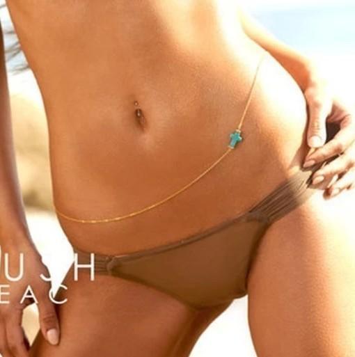 مزيج جديد الأزياء والمجوهرات الفيروز عبر سلاسل البطن الجسم هدية اللون للنساء فتاة BN13