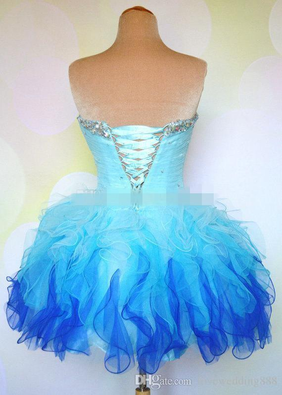 Cheap Ombre Multi Color Colorful Short Corset and Tulle Ball Gown Prom Homecoming Dance Party Dresses Mini Bridal Bachelorette Gowns 2019