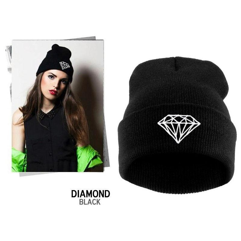 Autumn   Winter Diamond Hat for Women Knitted Slouchy Beanie 1692b530c6f9