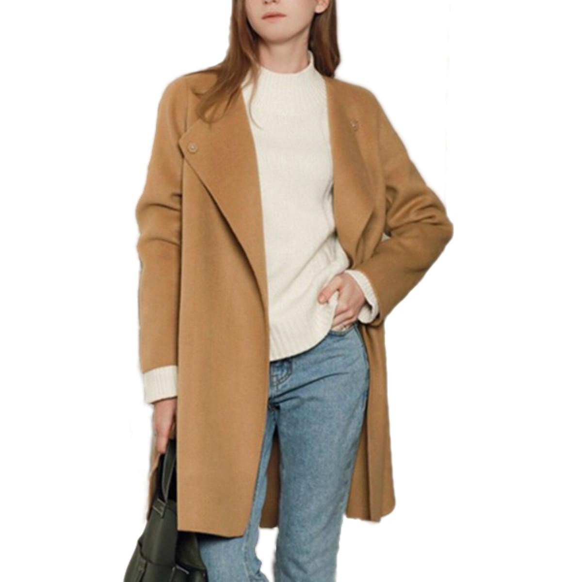 2017 2016 Elegant Women Winter Wool Coats Plus Size Grey Camel ...