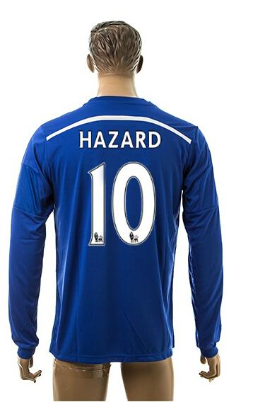 buy popular 08ff2 0cf83 2014-15 New Chelsea Hazard Home Blue Thai Quality Soccer Long Sleeve Jersey  For Adults Football Club Full Jerseys