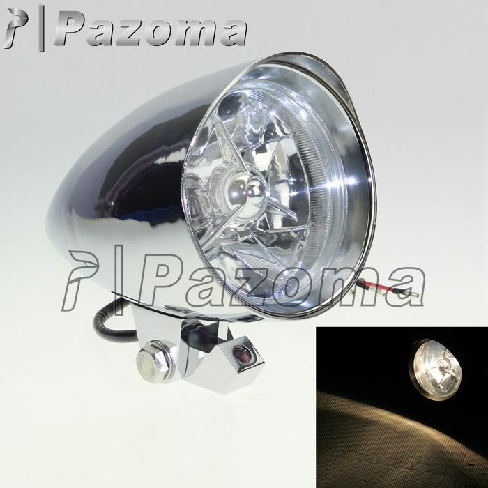 Pazoma Silver Tri Bar Head Light 12V H4 Bulb Front HeadLight 4 1 2 Round Lamp For Custom Motorcycle Chopper Bobber Softail Big Twin Headlights