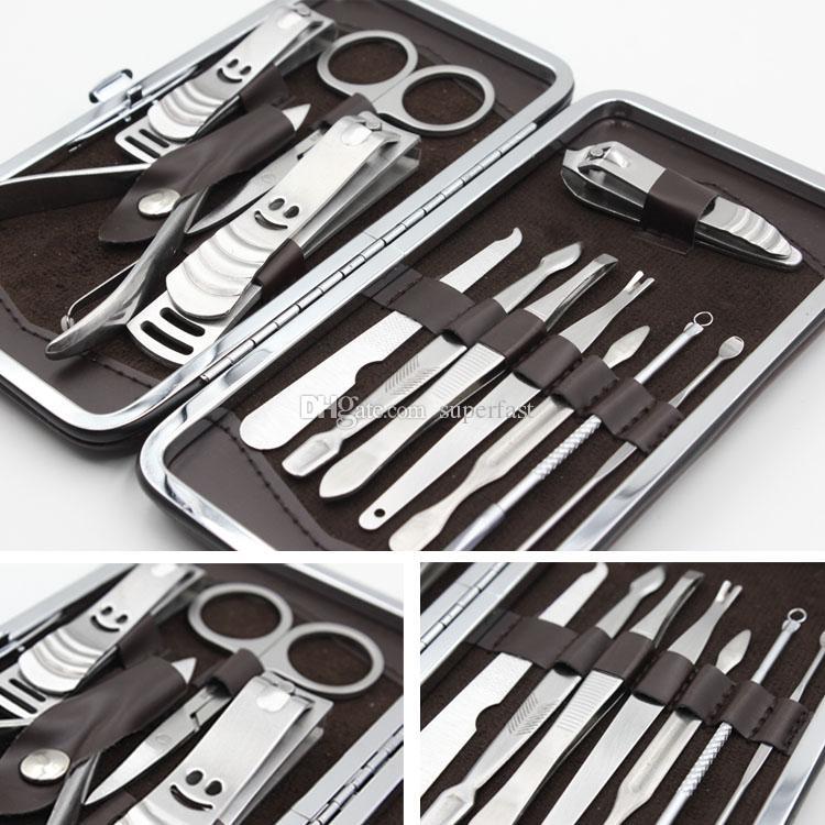 12 unids herramientas de cuidado de uñas Funda de cuero para la manicura personal Set de pedicura para viajes Kit de aseo Herramientas con paquete de venta al por menor DHL envío gratis