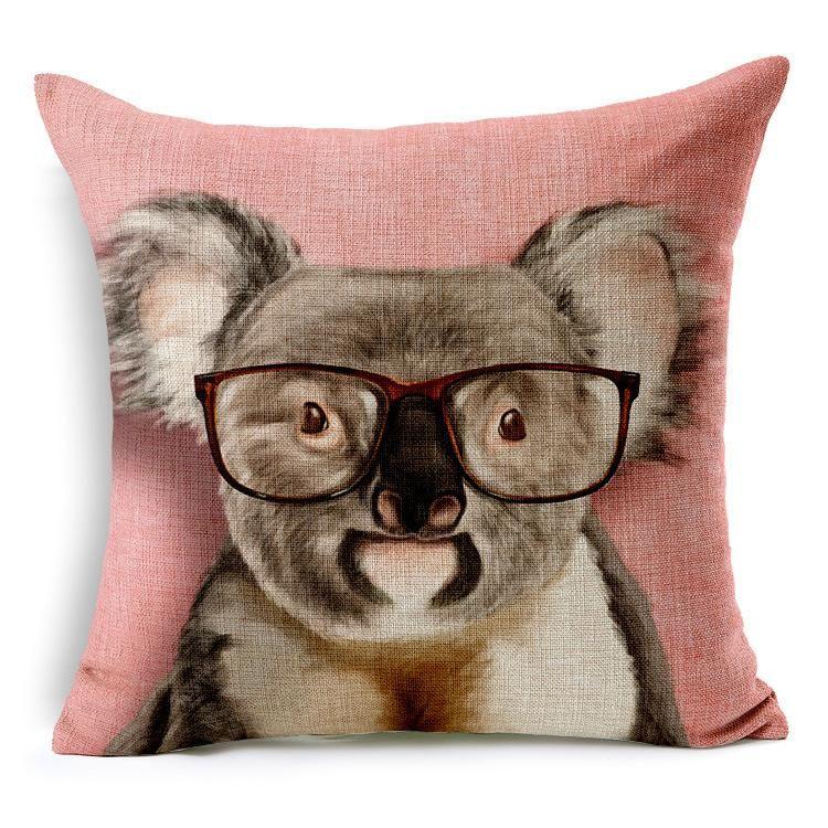 Kissenbezug Cartoon Kawaii Hund Katze Strauß Igel Gorilla Australien Koala Kissen Fall Leinen Baumwolle Kissen Liebe Sofa Kissen 45x45cm