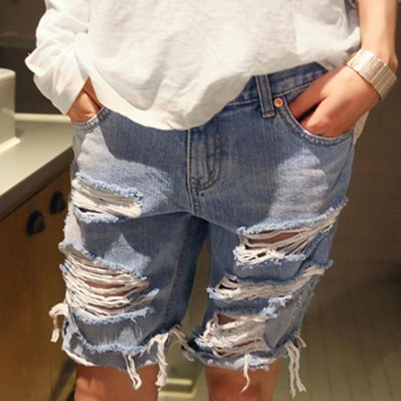 2017 2015 Summer Womens Denim Shorts Big Hole Short Jeans Loose ...