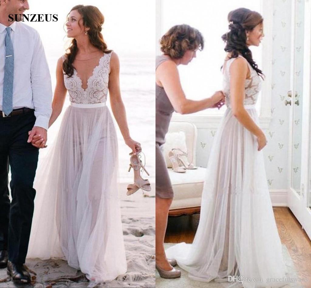 Elegant Beach Wedding Dresses 2017 Romantic Boho Bridal Gowns Floor Length Long Bride Dress With Appliques Lace
