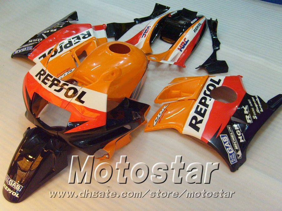 Ferineros de motocicletas para Honda CBR 600 1991 1992 1993 1994 F2 CBR600 91 - 94 Kit de carenado de plástico Naranja negro Repsol RP14