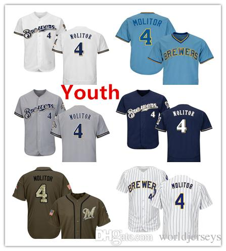 new styles 53786 3eaee Youth Kids Child Brewers 4 Paul Molitor Baseball Jersey White Navy Blue  Grey Gray Green Salute Players Weekend All Star Team Logo