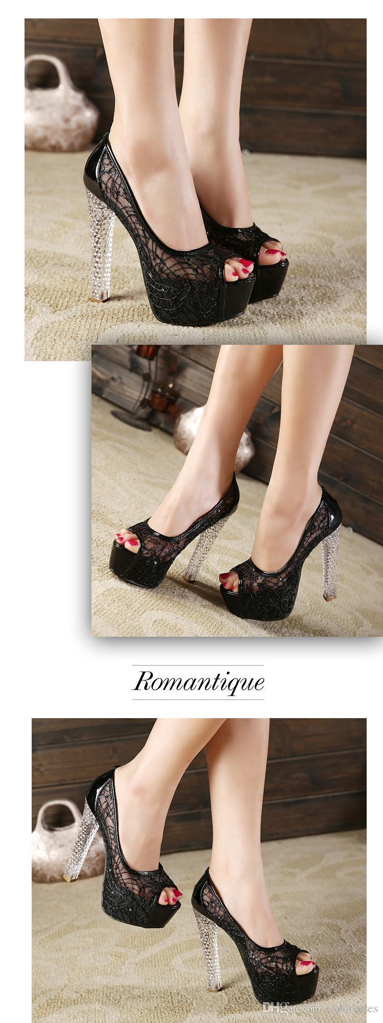 2015 nouvelle mode peep toe femmes chaussures argent or noir talons hauts sexy fête de mariage chaussures maille pompes taille 35-39 EA0319