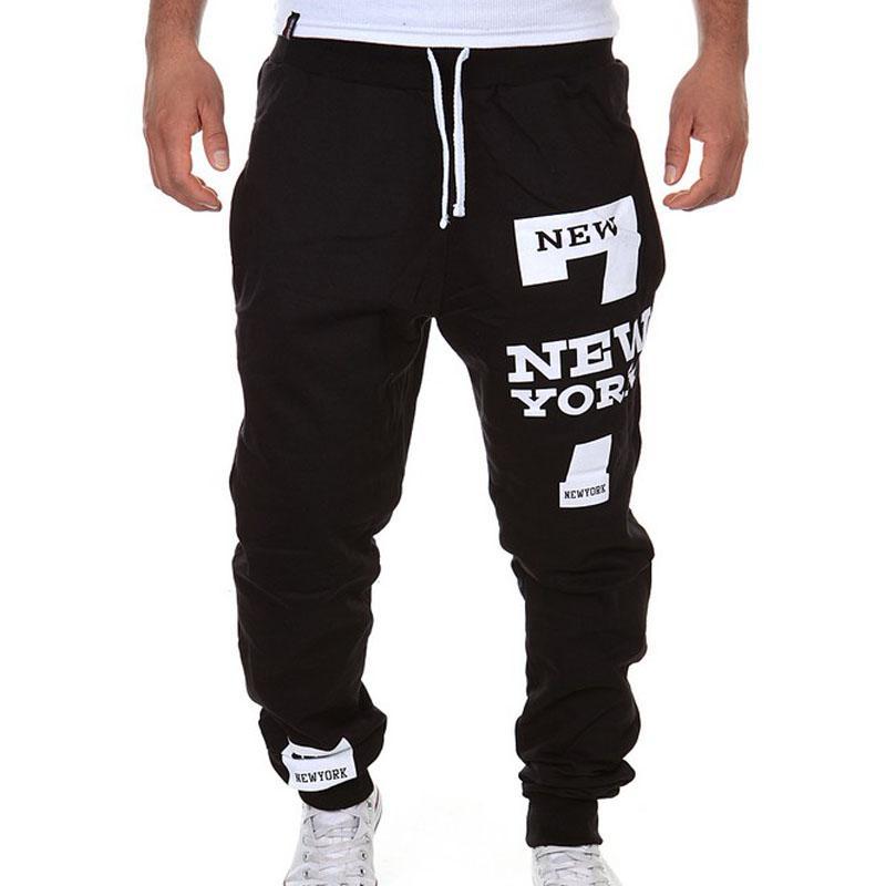 Taille Plus L-3XL 2015 New Automne Hommes Lettre Pantalons Pantalon Loose Harem Sweatpants Hiphop Pantalons Survêtement Sport Joggers Masculina FG1511