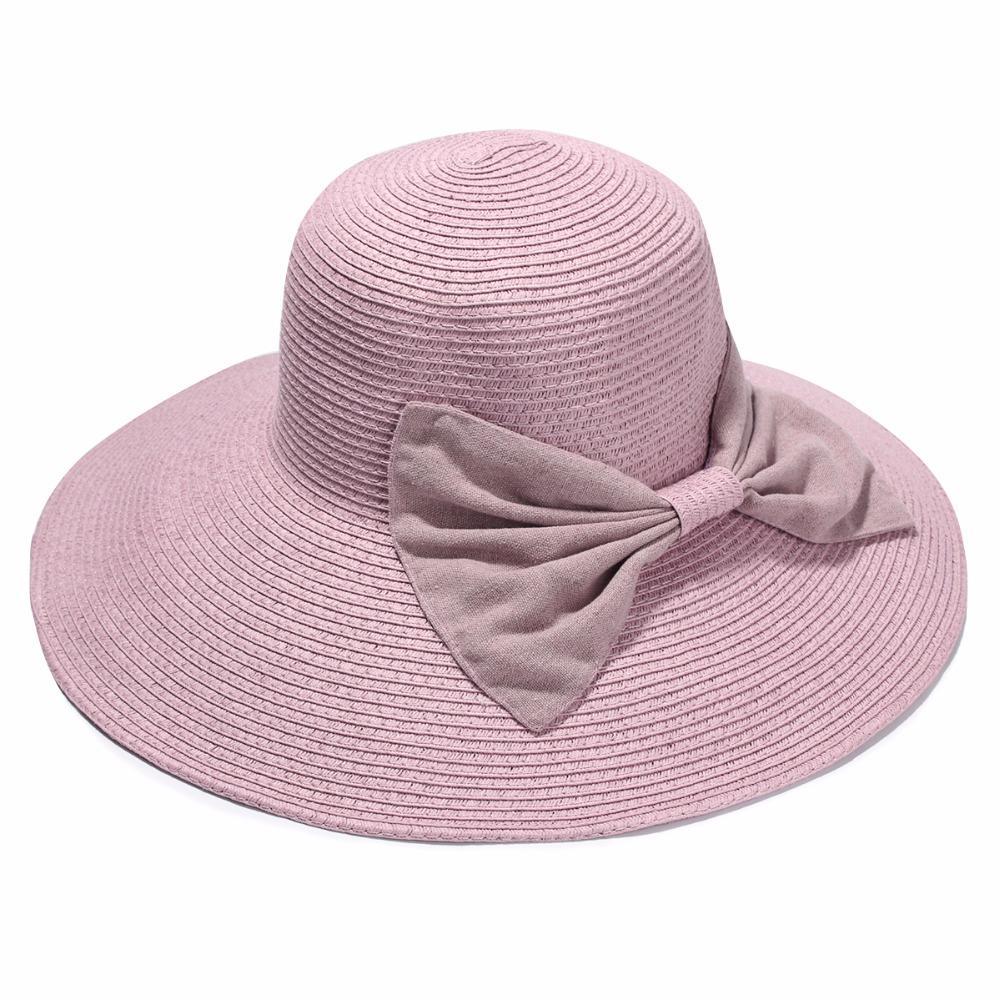 Compre Atacado Mulheres Chapéu De Palha De Verão Senhoras Elegantes Praia  Grande Brim Chapéus De Sol Com Bowknot Feriado Sombrero Mujer De Duweiha 642dd9b726b