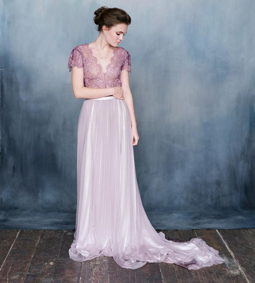 Discount Emily Riggs Purple Wedding Dresses With Sleeves V Neck A Line Bridal Gown Ombre Lilac Tulle Bride Dress Lace Vintage Bohemian Style 2015