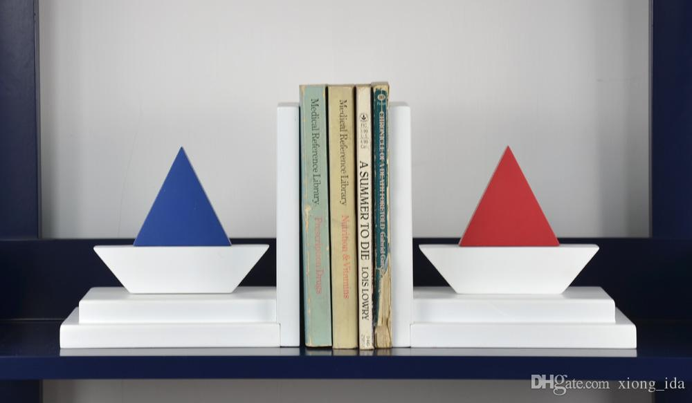 European style sailing bookend creative wooden painted craft desk decoration for kids' study room book shelfves,