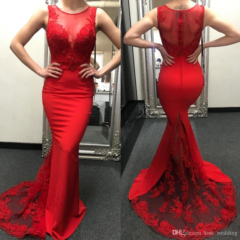 235d125adb Stylish Red Lace Sweep Train Prom Dress Sheath Mermaid African Dresses  Party Evening Formal Cocktail Gowns With Sheer Crew Neckline Stores For Prom  Dresses ...
