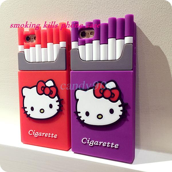 9d1244fe4b52 Hello Kitty 3D Cigaret Silicone Case Smoking Kills Cigarette Phone Case For  IPhone 5 5S 6 6Plus Cover Case DHL Free Phone Covers Make Your Own Phone  Case ...