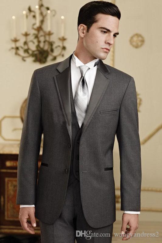 Chegada nova Custome feito Ternos de Casamento Cinza Do Carvão Do Noivo Smoking Bonito Terno Ternos Formais Padrinhos de Casamento Melhor Homem Jaqueta + calça + colete