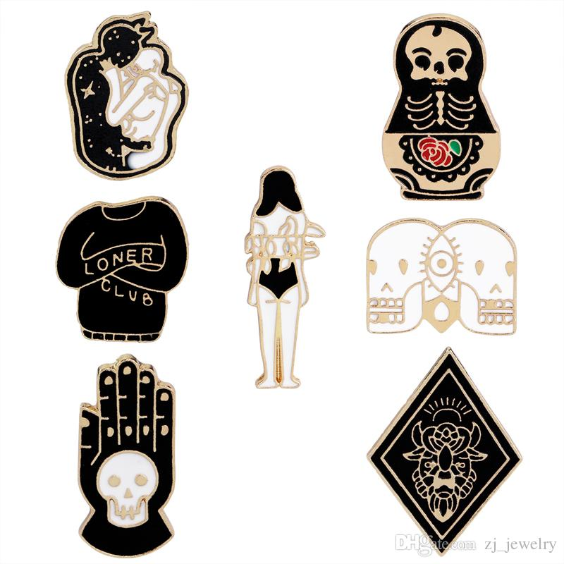 Vintage Jewelry Evil Hard Enamel Pins Punk Skeleton Skull Palm Totem  Introvert Loner Brooch Lapel Pin Button Clothes Bag Badges