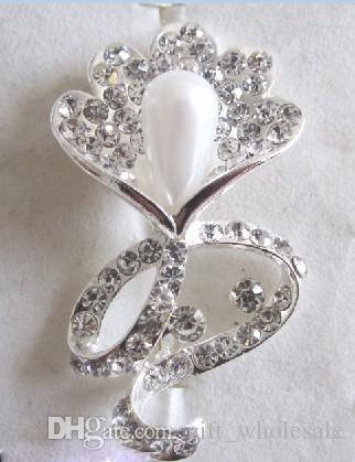 Silver Plated Alloy Flower Petal Clear Rhinestone Brooches For Wedding Gifts Pearl Corsage Pin 7 Styles