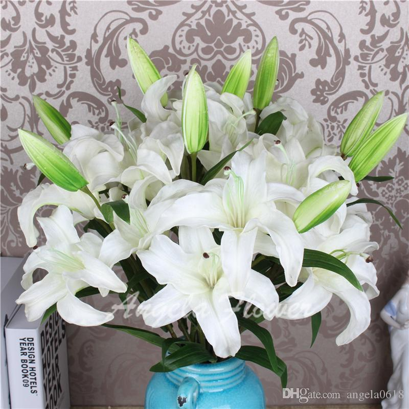 Wholesale Artificial High quality real touch PU lily Flowers 3 head Decoration for table home vase hotel living room