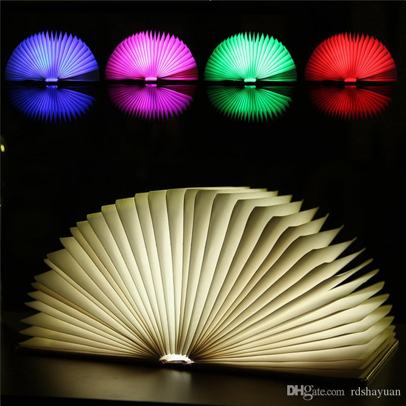 LED Night Light Folding Reading Book Light USB Port Rechargeable Home Table Desk Ceiling Decor Lamp Changing Lighting