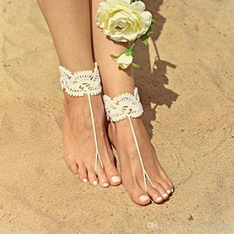 6071b1b400056 1 Pair OR 2 PCS barefoot sandals Nude shoes Foot jewelry Wedding Crochet  barefoot sandal Anklet Bellydance Steampunk Beach Pool Boho Beach