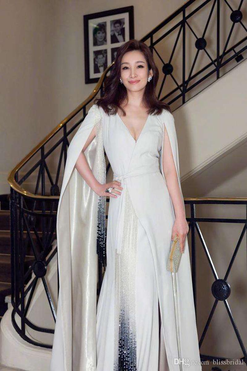 Élégante manches split manches robes de soirée formelles avec glands ceinture v-cou une ligne robes de bal de balayage train robe de tapis rouge