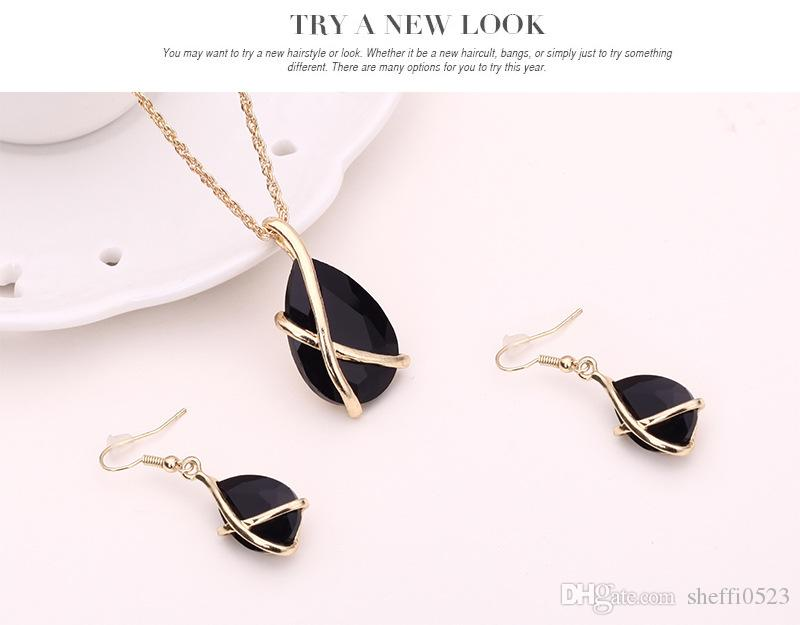 Fashion Necklace Earrings Jewelry Sets 18K Gold Plated For Women Best Gift Fine Necklace Earrings Sets Wedding Jewelry Set 61152100