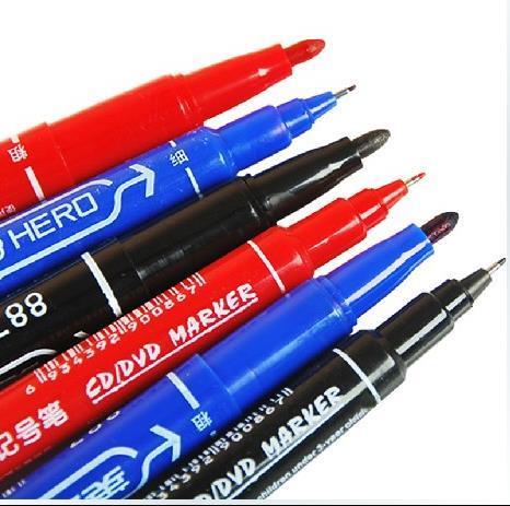 Penne pittura HERO Penna linea gancio Penna marcatore CD colorfast impermeabile 2 teste pennino artiglio disegno artistico blu rosso nero drop shipping