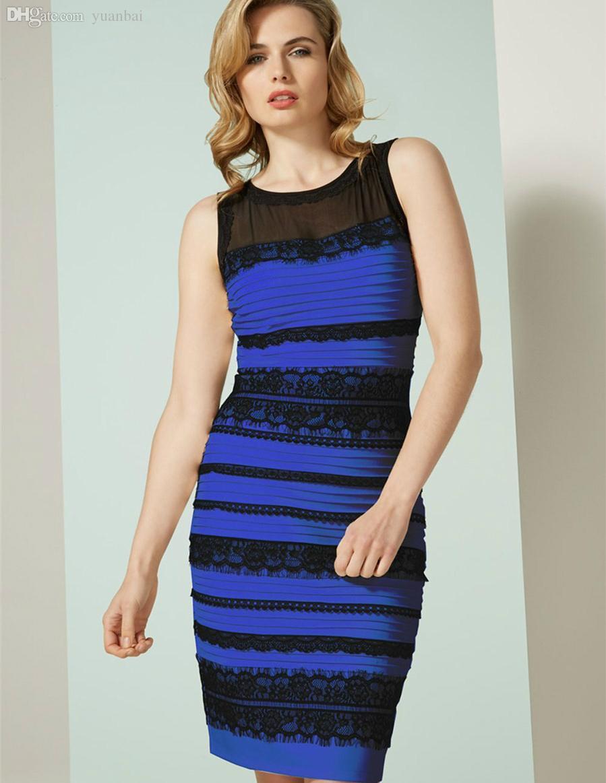 competitive price 47eca ada4b All ingrosso-Sembra bianco e oro o blu e nero lo stesso stile delle donne  vestono abito Royal-blu L abito aderente in pizzo abito